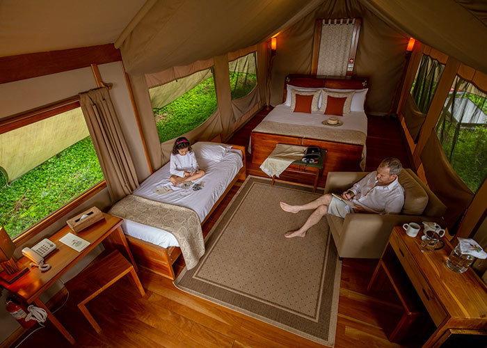 Galapagos with kids: luxury safari tent accommodation